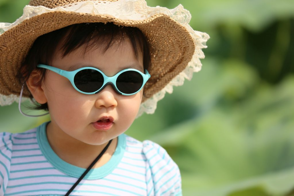 Child in sunglasses and hat